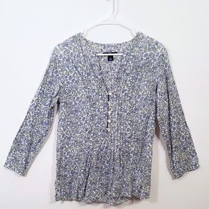 GAP White and Blue Floral Print Flowy Blouse